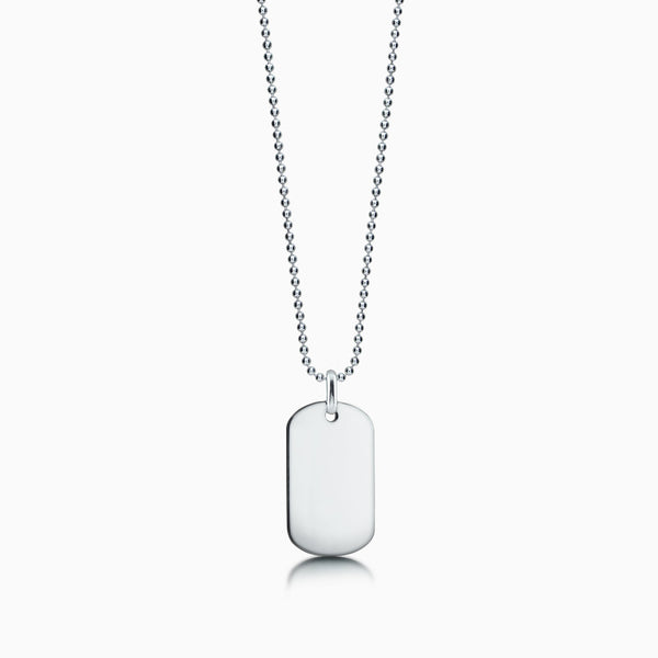 Men's 14k White Gold Flat Edge Dog Tag Necklace w/ Bead ...