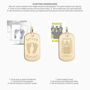 Custom Engraved Men's 14k Gold Flat Edge Dog Tag - Medium
