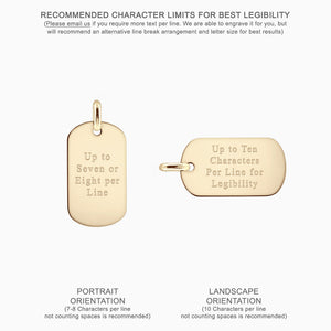 Text Engraving - Men's 14k Yellow Gold Flat Edge Dog Tag - Medium