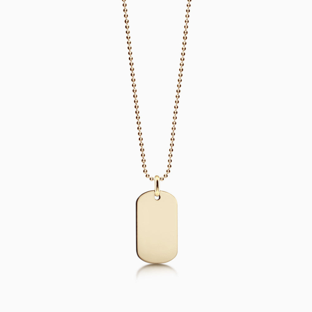 Men's 14k Gold Flat Edge Dog Tag Necklace w/ Bead Chain - Medium (Engravable)