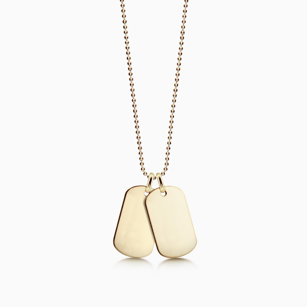 Men's Double 14k Yellow Gold Flat edge Dog Tag Necklace with Ball Chain
