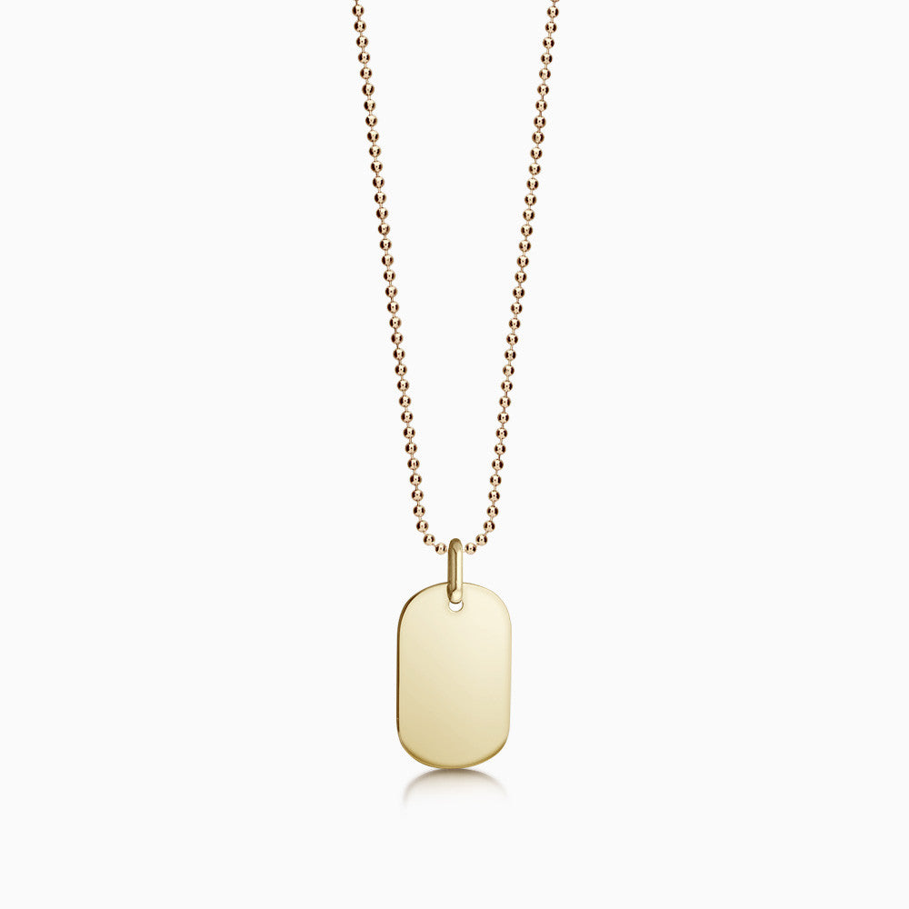 Engravable Women's 14k Gold Flat Dog Tag Necklace w/ Ball Chain - Small