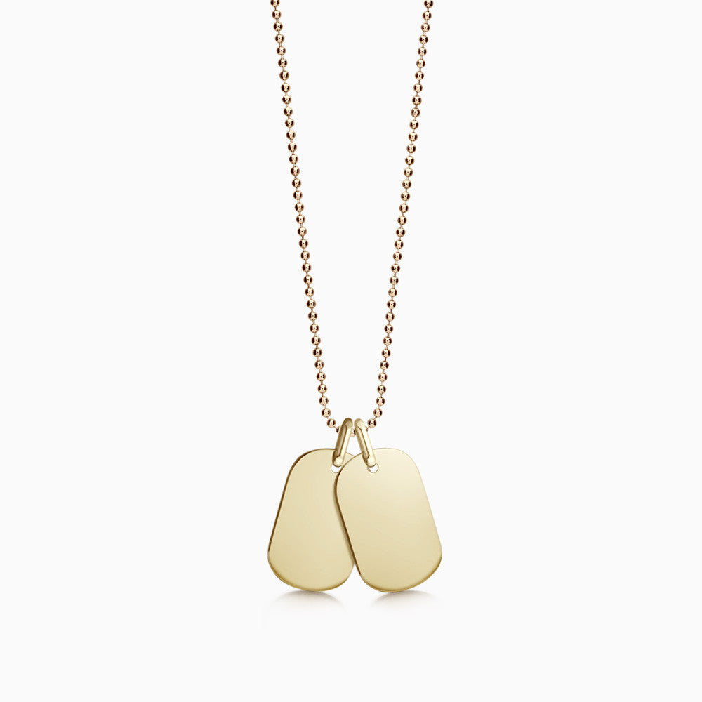 Engravable Women's 14k Gold Flat Edge Double Dog Tag Necklace w/ Ball Chain - Small