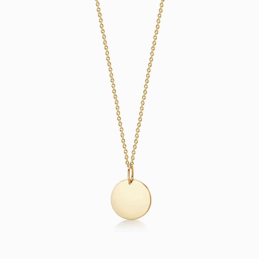 1/2 inch 14k Yellow Gold Disc Charm Necklace w/ Link Chain (Engravable)