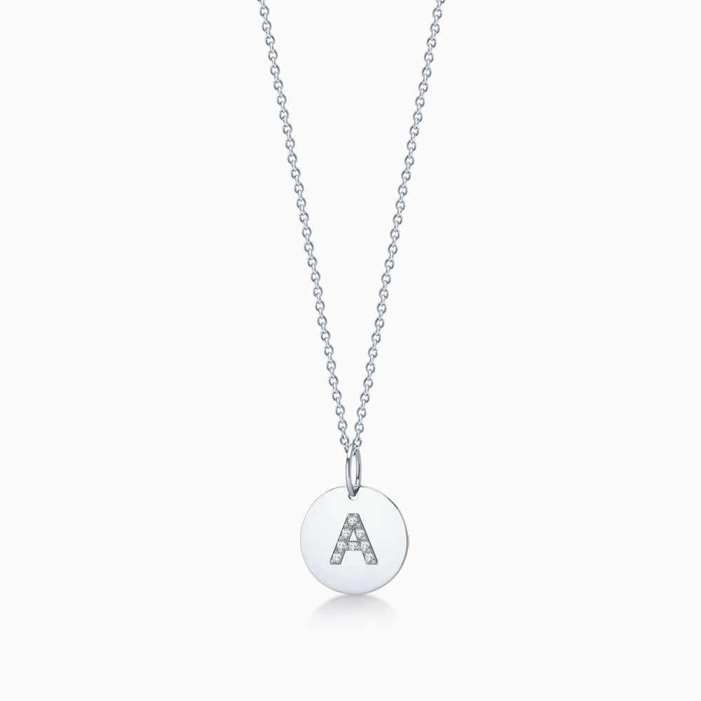 1/2 inch 14k White Gold Diamond Initial A Disc Charm Necklace - Engravable