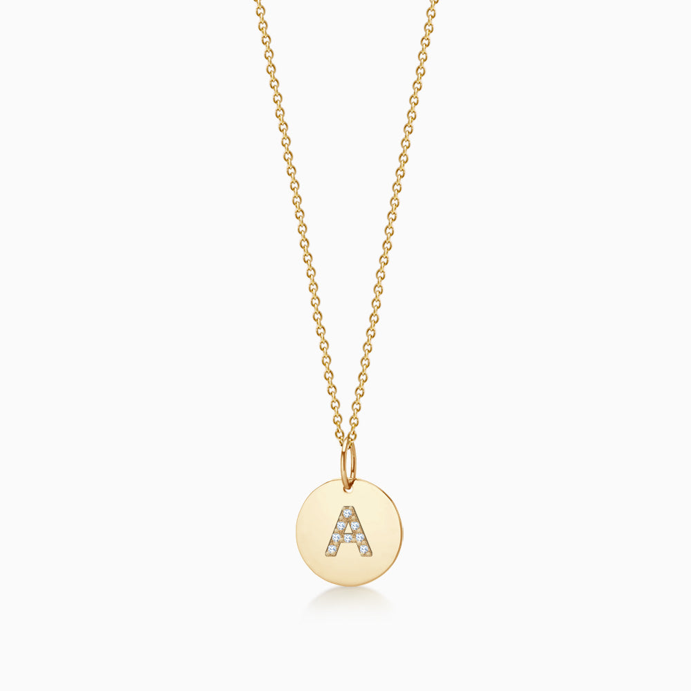 1/2 inch 14k Yellow Gold Diamond Initial A Disc Charm Necklace (Engravable)