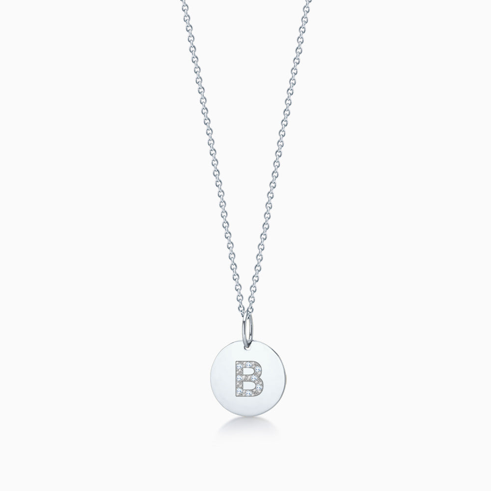 1/2 inch 14k White Gold Diamond Initial B Disc Charm Necklace - Engravable