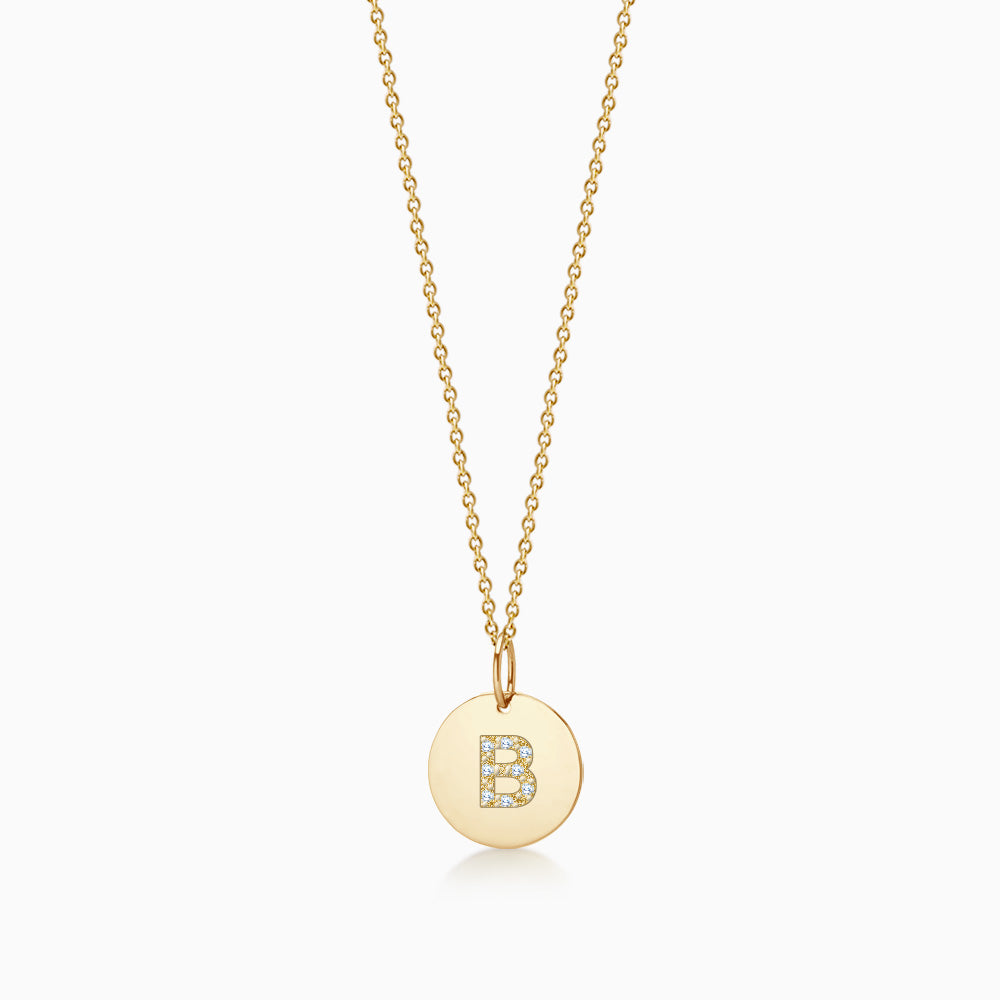 1/2 inch 14k Yellow Gold Diamond Initial B Disc Charm Necklace (Engravable)