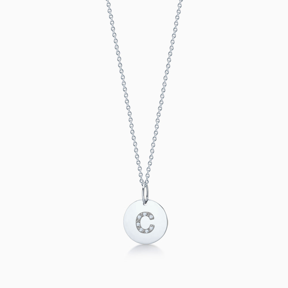 1/2 inch 14k White Gold Diamond Initial C Disc Charm Necklace (Engravable)