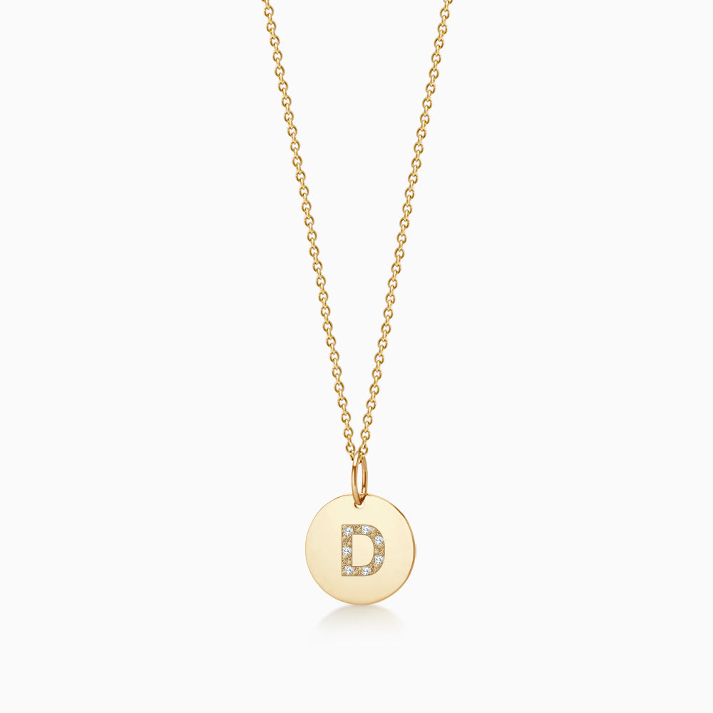 1/2 inch 14k Yellow Gold Diamond Initial D Disc Charm Necklace (Engravable)