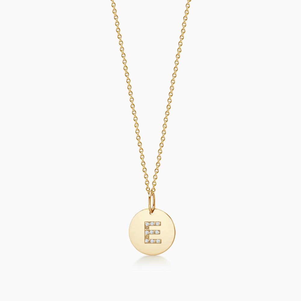 1/2 inch 14k Yellow Gold Diamond Initial E Disc Charm Necklace (Engravable)