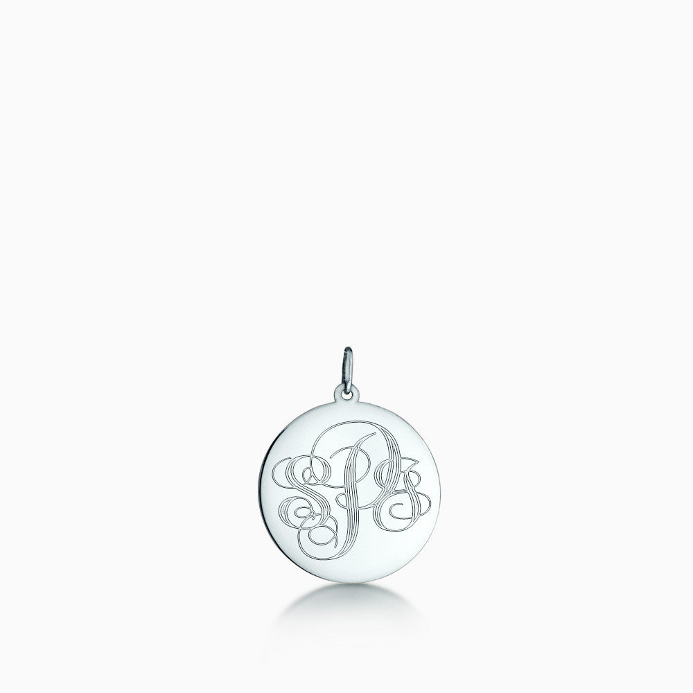 7/8 inch Sterling Silver Monogram Disc Charm Pendant with Initials S, P, J