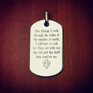 Men's Sterling Silver Flat Edge Dog Tag - Engraved with Psalm 23:4 and Alpha Omega