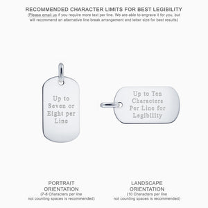 Text Engraved Men's 14k White Gold Flat Edge Dog Tag - Medium