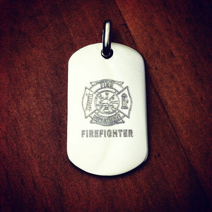 Men's Sterling Silver Flat Edge Dog Tag (Medium) Custom Engraved with a Firefighters Crest