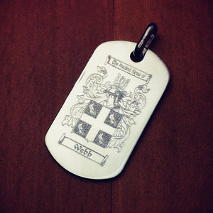 Men's Sterling Silver Flat Edge Dog Tag - Custom engraved with a family crest