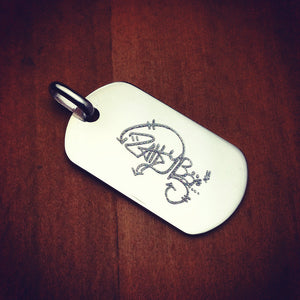 Men's Sterling Silver Flat Edge Dog Tag - Engraved with graffiti artwork