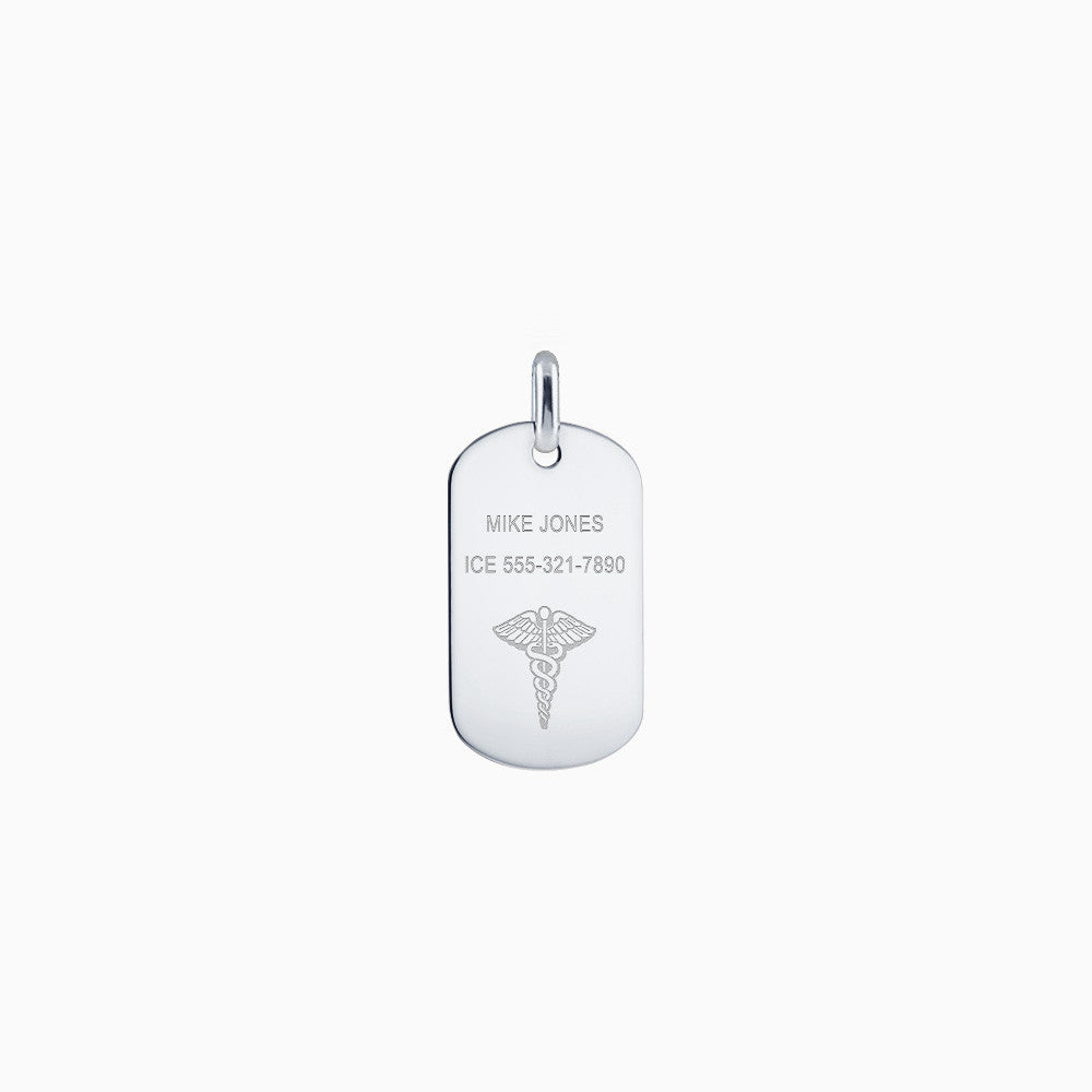 Men's Sterling Silver Medical Alert Symbol Dog Tag - Engraved