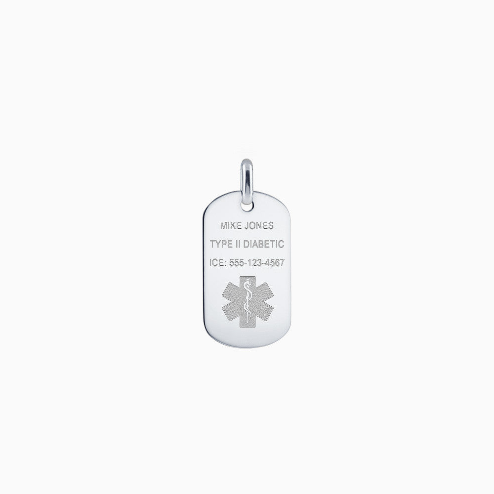 Men's Sterling Silver Flat Edge Medical Alert Star of Life Dog Tag - Medium (Engravable)