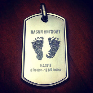 Men's Sterling Silver Dog Tag Engraved with Baby Footprints and Birth Details