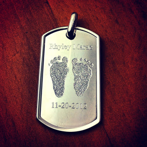 Men's Large Dog Tag Engraved with Actual Baby Footprints, Name and Birthdate