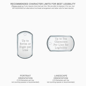 Medium Mens Sterling Silver Dog Tag Slider with Raised Edge - Text Engraving Options