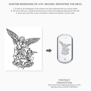 Medium Engravable Mens Sterling Silver Single Diamond Dog Tag Slider with Raised-Edge - Custom Engraving Instructions for Artwork - St. Michael Defeating the Devil