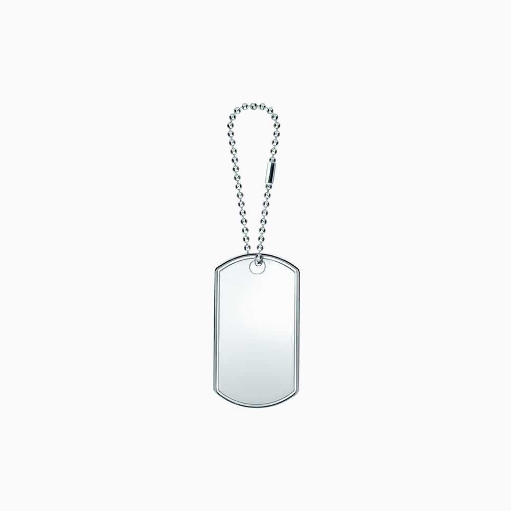Large Engravable Mens Sterling Silver Dog Tag Slider with Raised Edge and Extension Chain