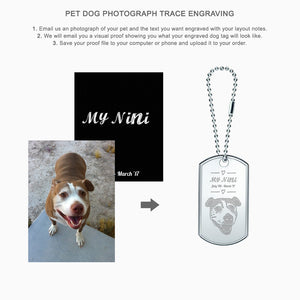 Double Large Engravable Mens Sterling Silver Dog Tag Slider with Raised Edge and Extension Loop Chain - Custom Engraving Instructions for Pet Dog Photograph Trace