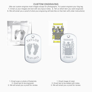 Medium Engravable Men's Sterling Silver Dog Tag Slider - Custom Engraving Instructions for Artwork and Images