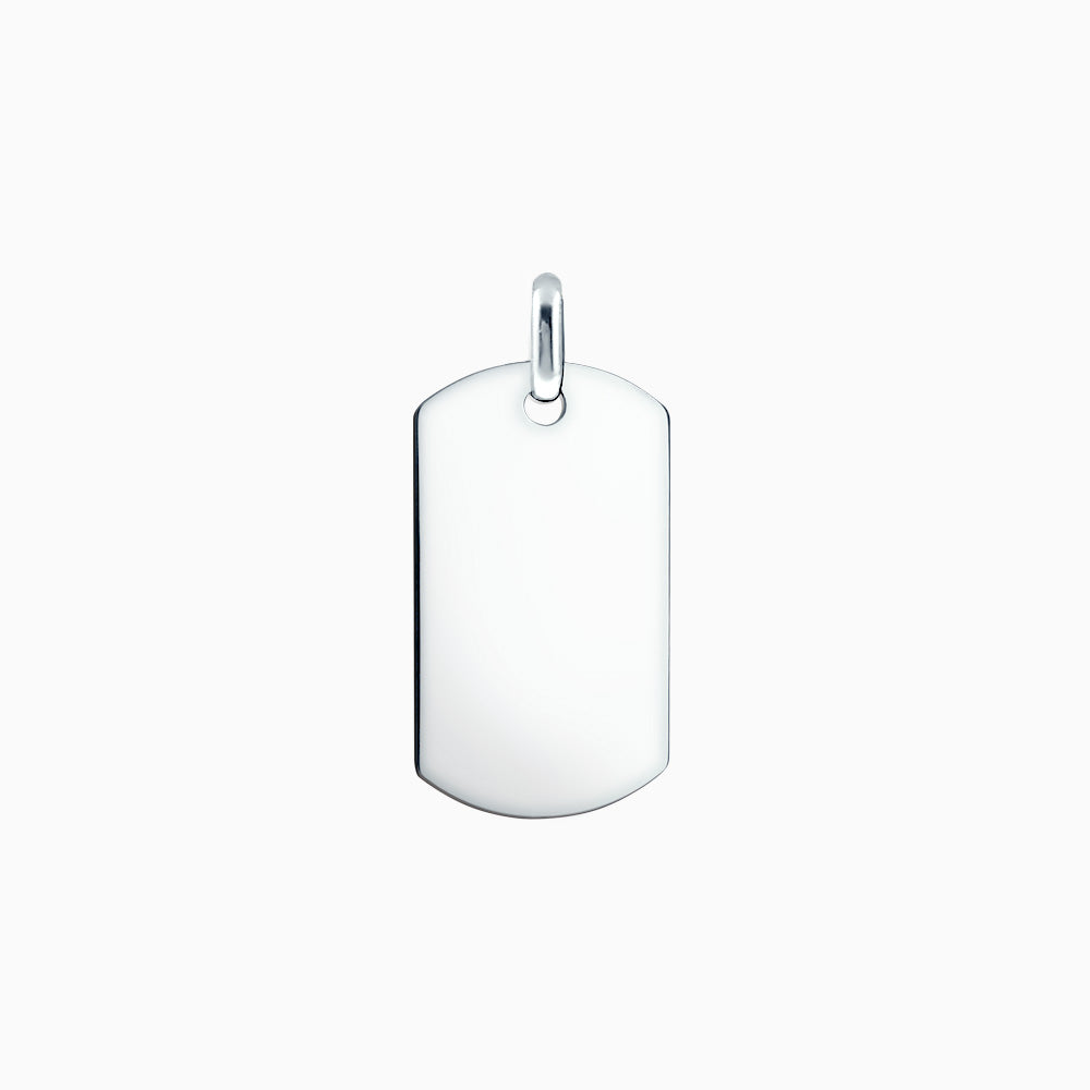 Men's Large Sterling Silver Flat Edge Dog Tag (Engravable)
