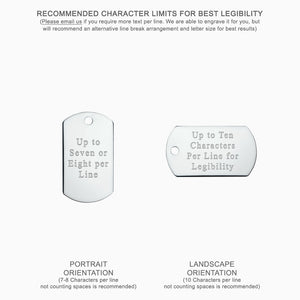 Men's Large Sterling Silver Flat Edge Dog Tag Slider Pendant (Engravable) - Text engraving instructions