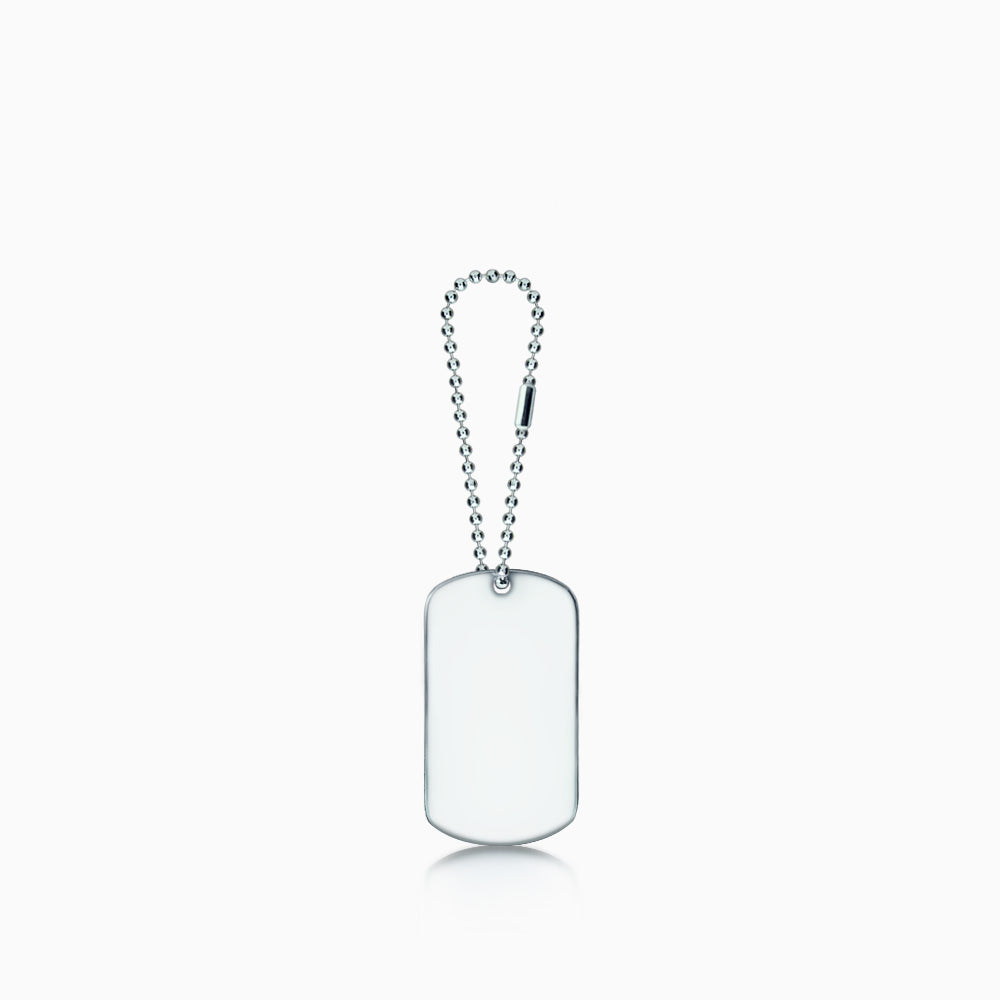 Men's Stainless Steel Dog Tag Pendant w/ Ball Chain Extension - Large (Engravable)