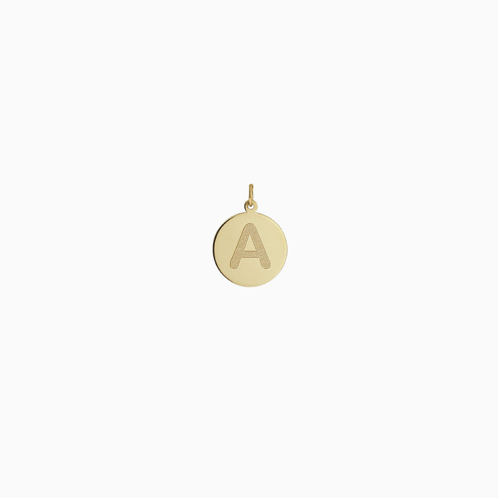 1/2 inch, 14k Yellow Gold Etched Initial A Disc Charm Pendant