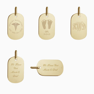 Custom Engrave or Text Engrave this Women's Small 14k Gold Dog Tag Pendant