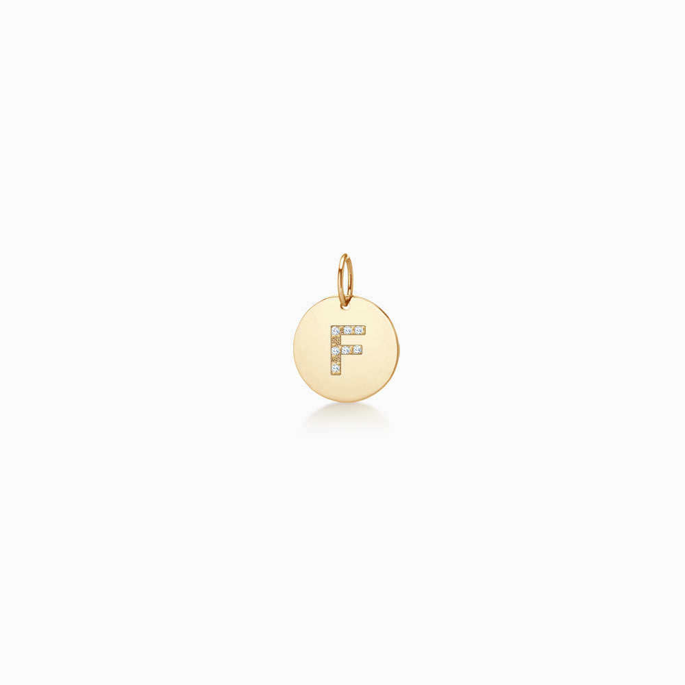 1/2 inch 14k Yellow Gold Disc Charm Pendant with Diamond Initial F (Engravable)