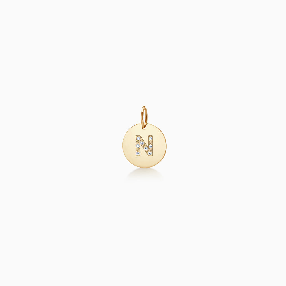 Engravable 14k yellow gold 1/2 inch disc charm with block diamond initial N