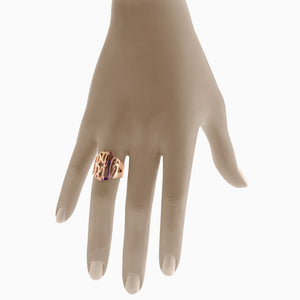 Solid 14k Rose Gold Cut Out Initial Monogram Ring - Fit Detail