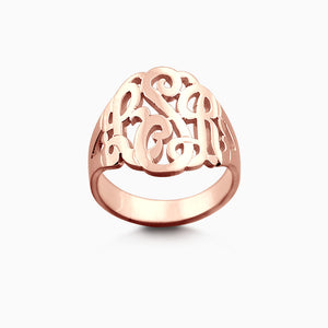 Solid 14k Rose Gold Cut Out Initial Monogram Ring