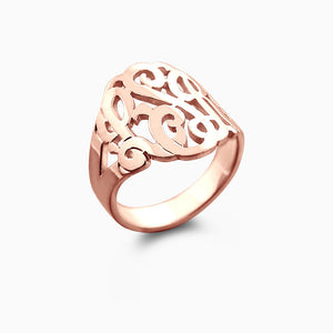 Solid 14k Rose Gold Cut Out Initial Monogram Ring - Profile View