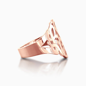 Solid 14k Rose Gold Cut Out Initial Monogram Ring - Side View