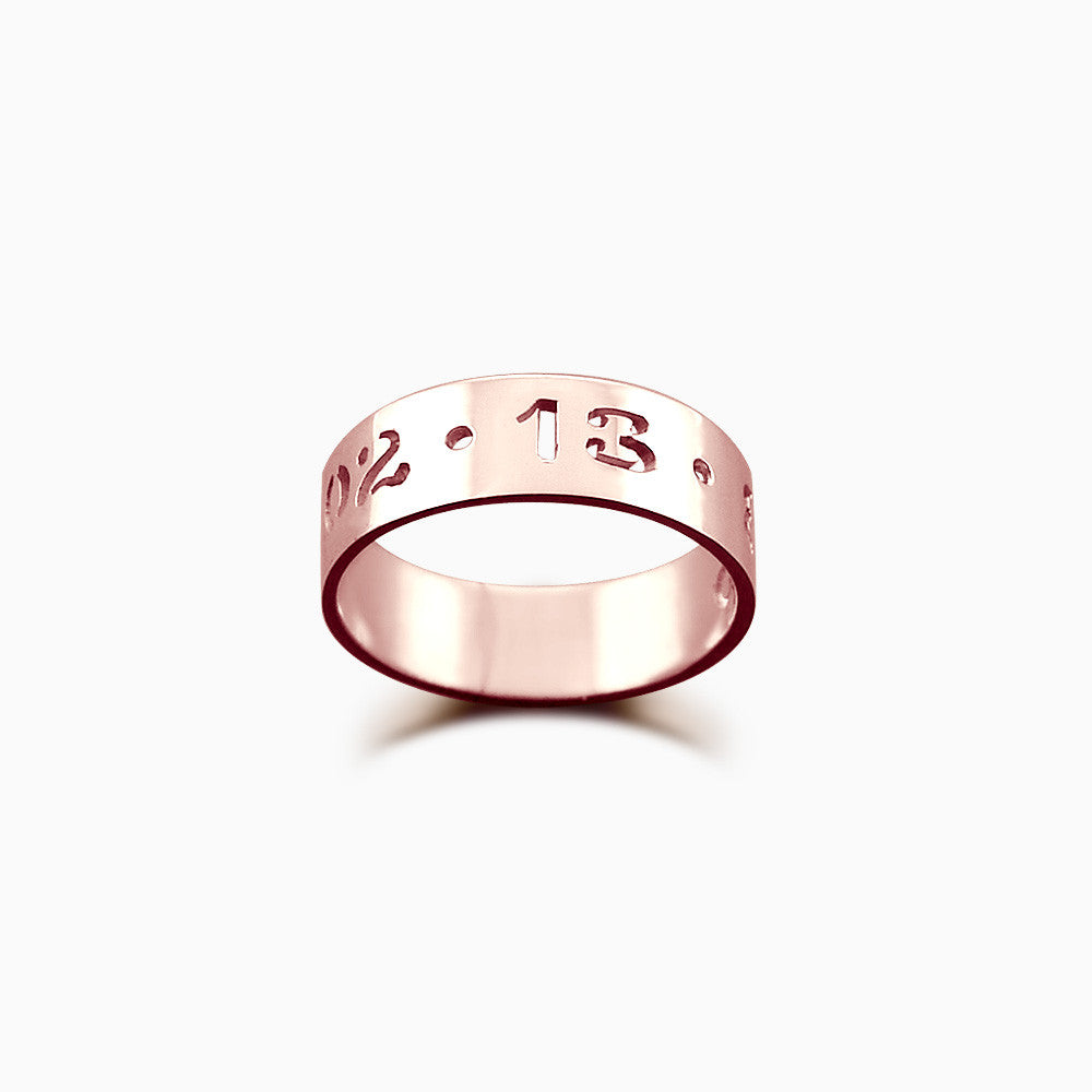5mm 14k Rose Gold Cutout Date Ring