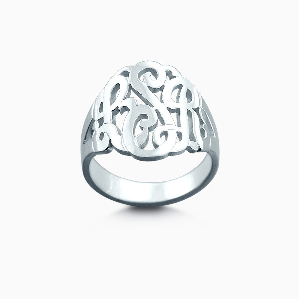 14k White Gold Cut Out Three Initial Monogram Ring