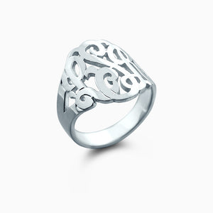 14k White Gold Cut Out Three Initial Monogram Ring - Profile View
