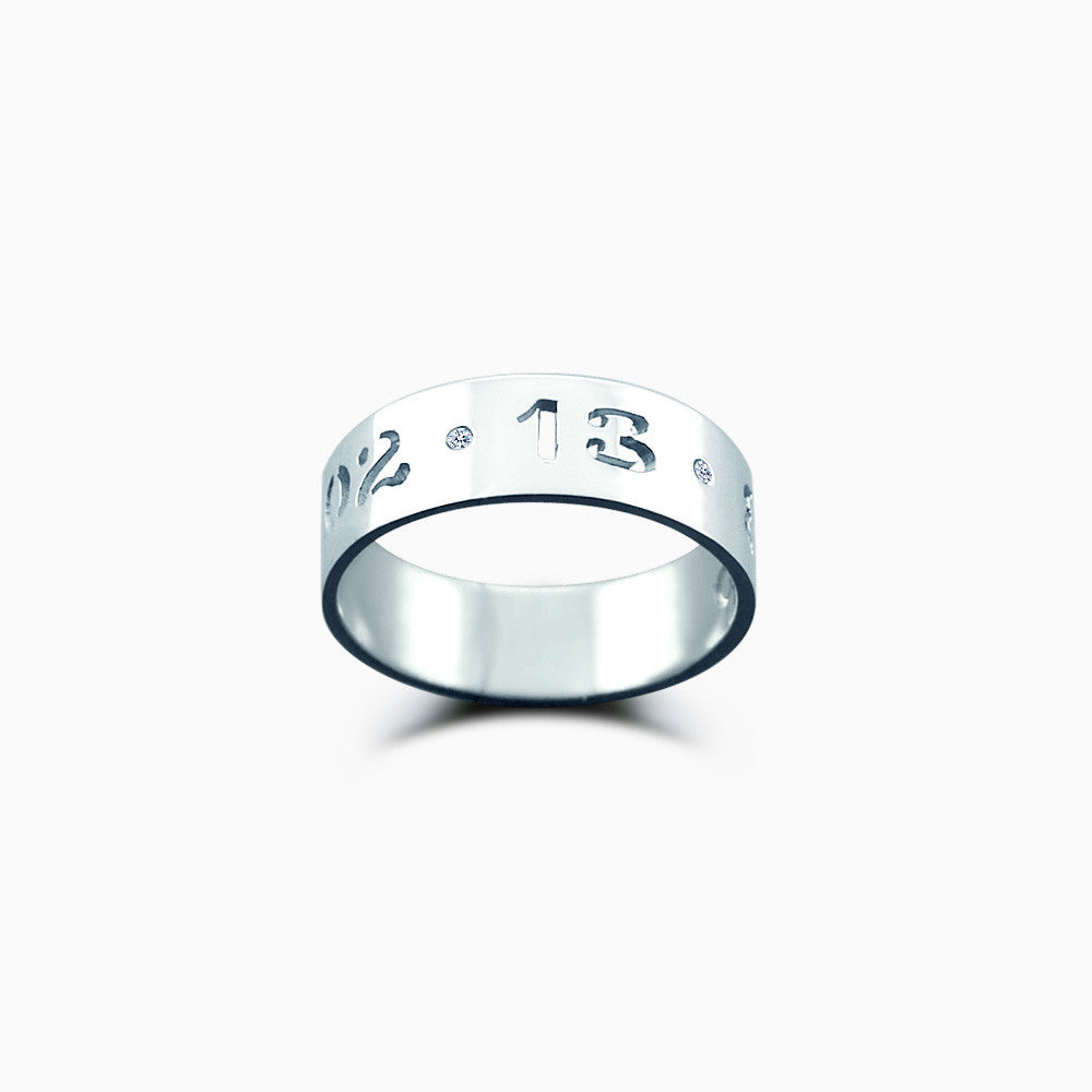 5mm Sterling Silver Cutout Date Ring w/ Diamond Accents