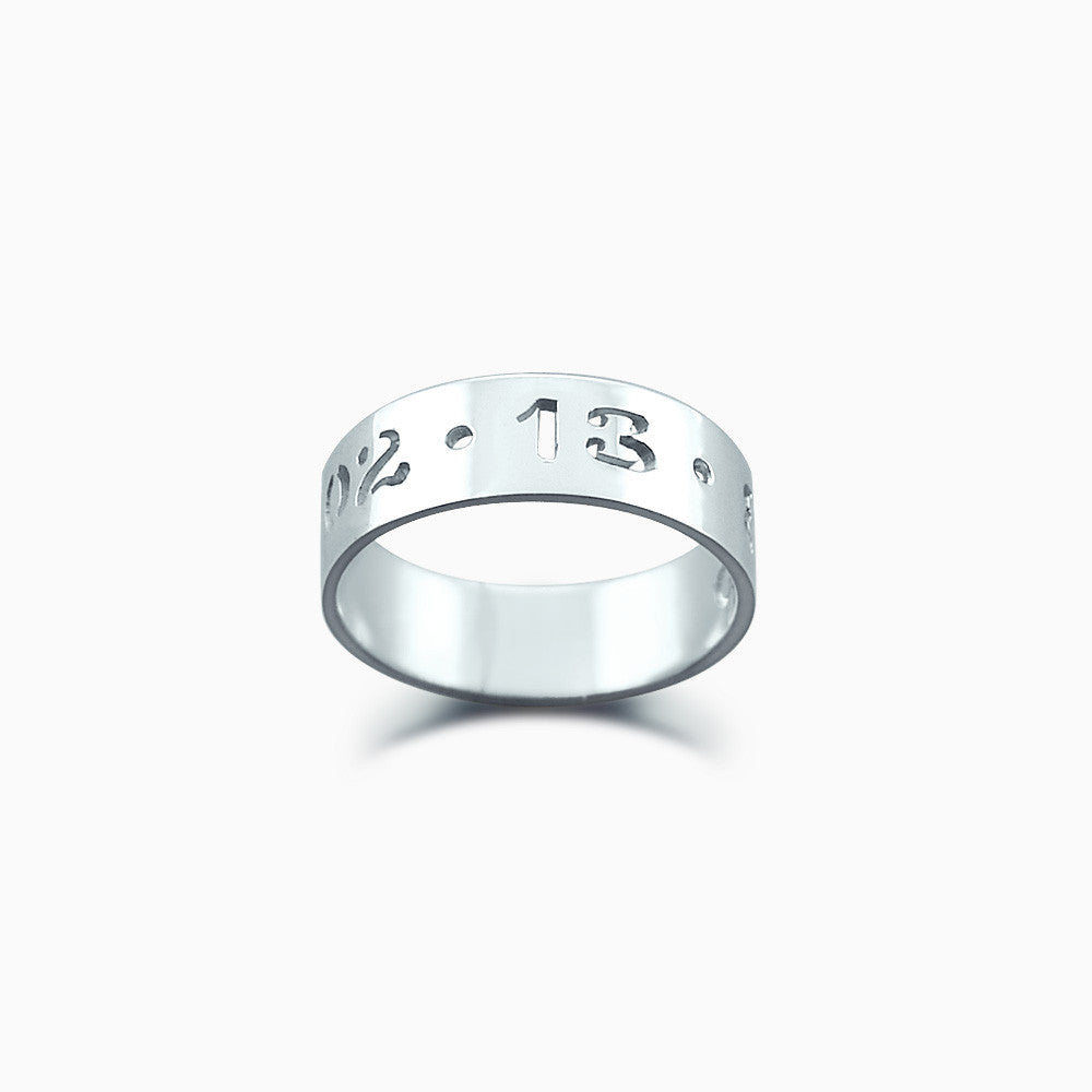 5mm Sterling Silver Cut Out Date Ring