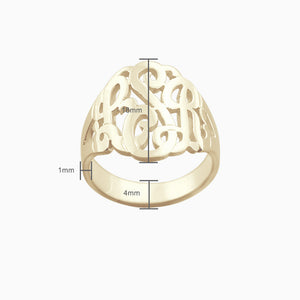14k Yellow Gold Cut Out Initial Monogram Ring - Size Detail