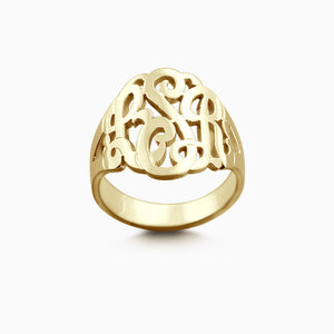 14k Yellow Gold Cut Out Initial Monogram Ring