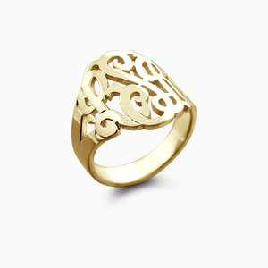 14k Yellow Gold Cut Out Initial Monogram Ring - Profile View