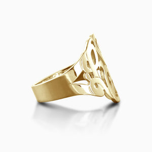 14k Yellow Gold Cut Out Initial Monogram Ring - Side View
